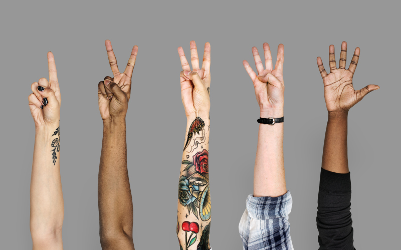 Five hands to representing the number of obstacles to overcome