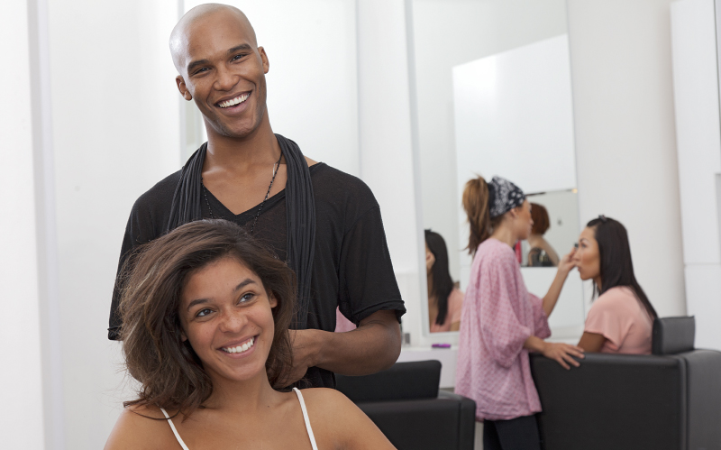 Photo of client and hairstylist in the salon